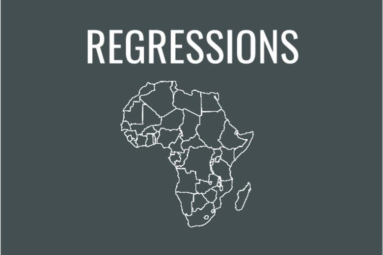 Regressions graphic with map of Africa