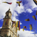 Colombian flag bunting flies in the city of Bogota