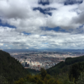 An aerial view of Bogota, Colombia including mountains