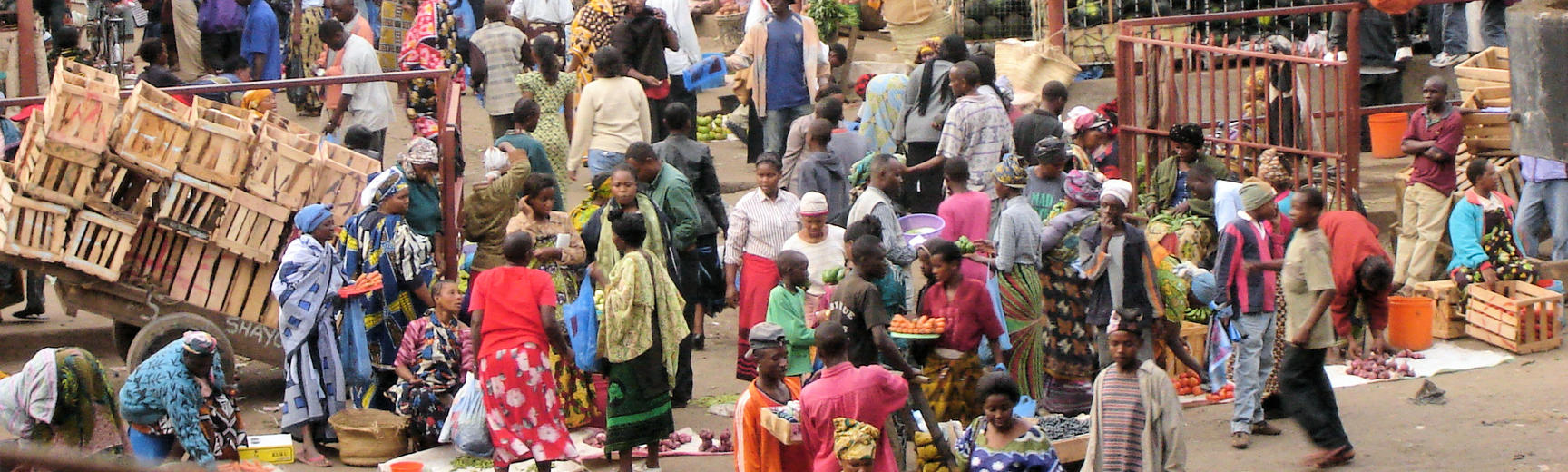 A very busy marketplace in Tanzania