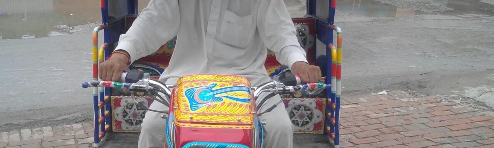 Man in Rickshaw in Lahore