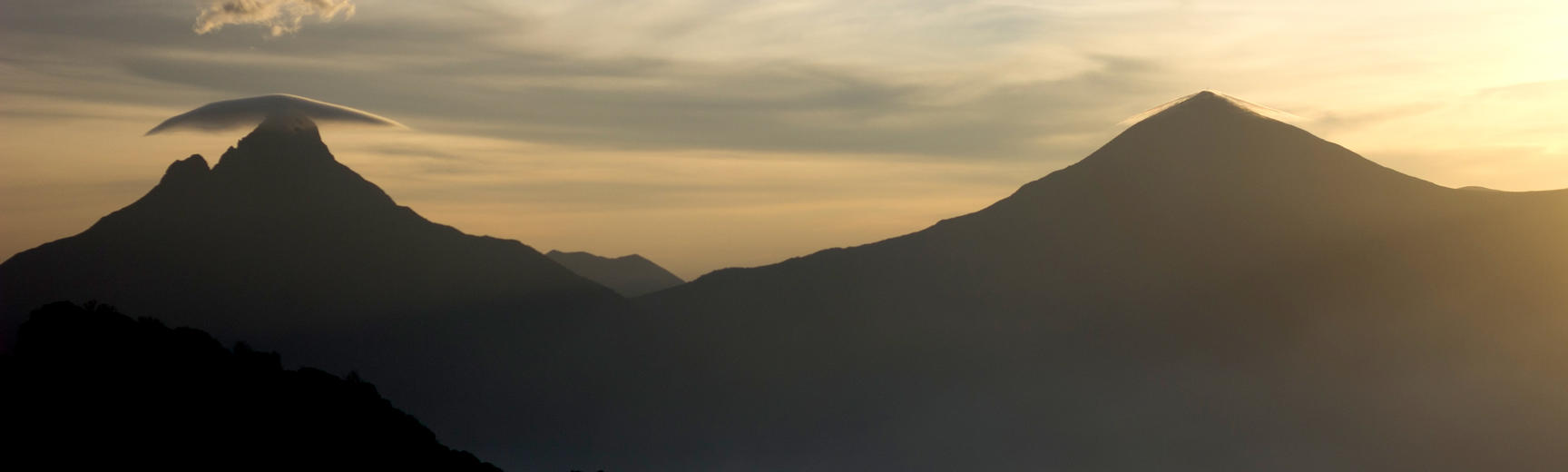 Mount Mikeno in the Democratic Republic of Congo at sunset
