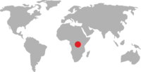 World map pointing to the Democratic Republic of Congo