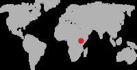 World map pointing to the Kenya and Uganda