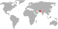 World map pointing to Pakistan